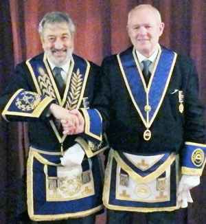 David Potts (left) congratulates Mike Hilton.