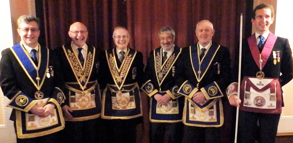 Pictured from left to right, are: Malcolm Hodgson, John James, Sydney Ford, David Potts, Mike Hilton and Dr Peter Lindfield.