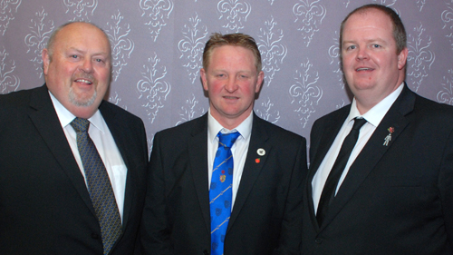 The three 'special imports' – the brethren who so superbly gave explanations of the Masonic working tools: from left to right: David Partington, Chris Wilkinson and James Hughes.