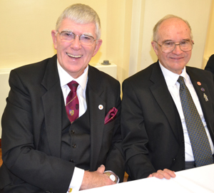 Tony Harrison (left) celebrating the 150 year anniversary of Rowley Chapter with the first principal Anthony Woof Jackson.