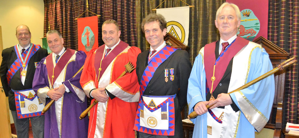 Pictured from left to right, are: Andrew Bartlett, Neil Hartley, Scott Devine, Michael Threlfall and Brian Stoddart.