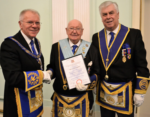 Pictured from left to right, are: Derek Parkinson, Bill with his 50 year certificate and Dave Johnson.