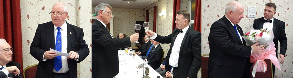 Picture left: Harry Cox replying at the festive board. Picture centre: David Rowbotham (left) performing the master's song. Picture right: Harry (left) receives flowers for Carol from Mel Howarth.