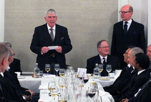 Tony Harrison (left) responding to the toast to his health.
