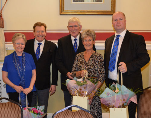 Pictured from left to right, are: Susan Poynton, Kevin Poynton, Tony Harrison, Maureen Harrison with their flowers presented by Rob.