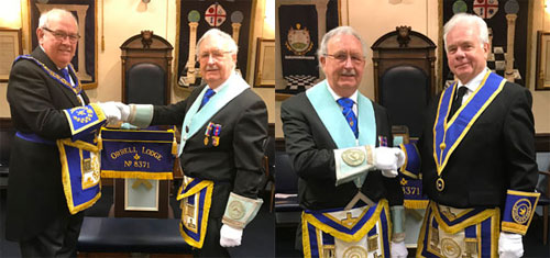 Pictured left: Phil Gunning (left) congratulates Derek Ishmael on achieving the chair of King Solomon of Orrell Lodge. Pictured right: Derek (left) thanks his immediate past and installing master Jim Wheeldon.