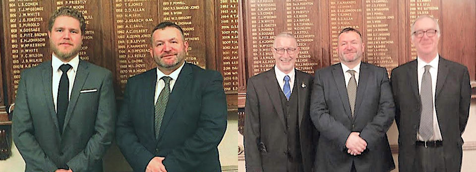 Pictured left: Jonathan Pagan (left) and Andrew Jones. Pictured right from left to right, are: Jim Campbell, Andrew Jones and Peter Hesketh.