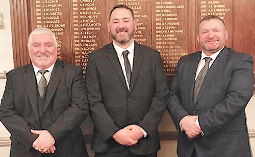 Pictured from left to right, are: The candidate's seconder Len Jones, Andrew Aitchison and his proposer Andrew Jones