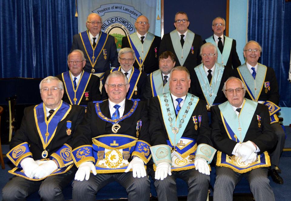 The members of Wilderswood Lodge with Stewart Seddon.