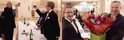 Picture left: Bryan Flynn(left) toasts John in the master's song. Picture right: John (left) presents a bouquet of flowers to Peter.