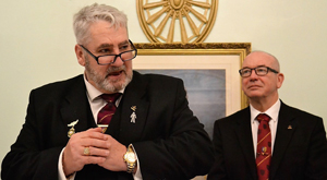 George Christie (left) responds to the toast to the three principals, with attentive DC Phil Pattullo