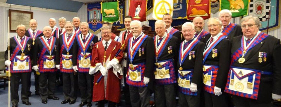 The three principals together with Stuart Thornber and a star-studded line up of grand and acting Provincial grand officers