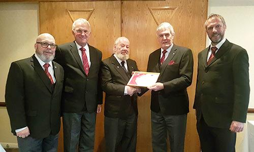 Pictured from left to right, are; Iain Brown (group Festival rep), Derek Midgley, Dave Smith, Paul Renton and Rob Midgley on presentation of the certificate.