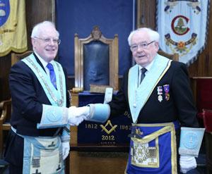Malcolm Berry congratulates Stan Rigby.