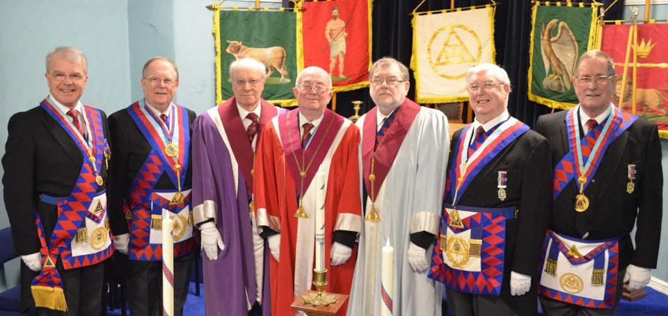 Pictured from left to right, are: David Durling, Colin Rowling, Colin Ellis, Brian Lees, Brian Taylor, Brian Hayes and David Anderson.