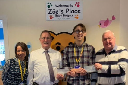 Pictured from left to right, are: Carol Kirkham (Fund Raiser for Zoë's Place), David Anderson, Mark Pilkington (Fund Raiser) and John Brewin
