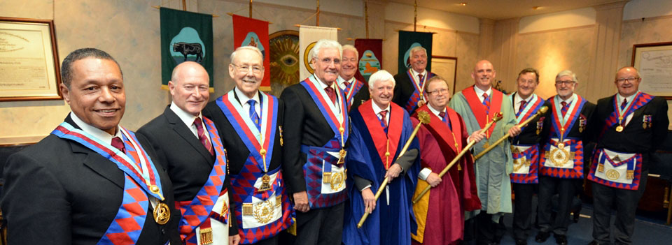 The three principals with Malcolm (fourth left) the acting Provincial grand officers and grand officers and distinguished guests.
