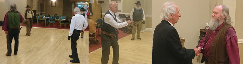 Picture left: WM John Farrington takes on the Grizzly Rebels. Picture centre: 'Quick draw McAllan' aka Peter Allan. Picture right: John Farrington (left) presents the Grizzly Rebels with the charity collection.
