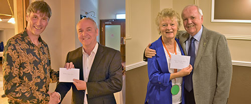 Picture left. Scott Wilson (left) and Graham Benson. Picture right. Pam Dilkes and Kieron Mullan.