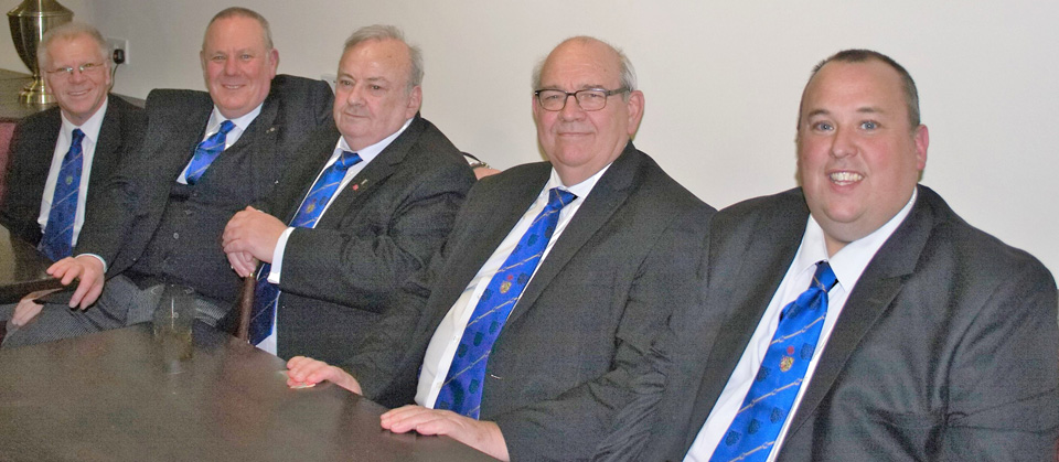 Pictured from left to right, are Derek Parkinson, Andrew Dobie, Ken Dobie, Phil Gunning and Stewart Dobie.
