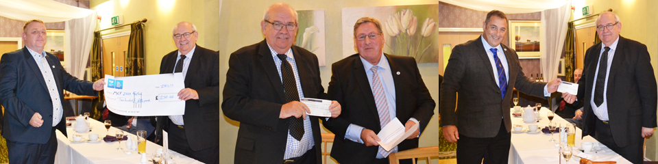 Presentations of the three charitable donations. Pictured from left to right with Philip Gunning are: Pic 1 - Daniel Crossley, representing the Lancastrian Club, Pic 2 – Neil McGill and Pic 3 – Scott Devine.