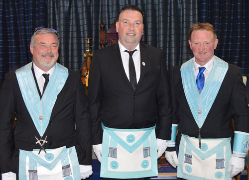 The three brethren who so superbly presented the working tools of the three Masonic degrees. From left to right are: Alan McMonagle, Andrew Carville and Chris Wilkiinson.
