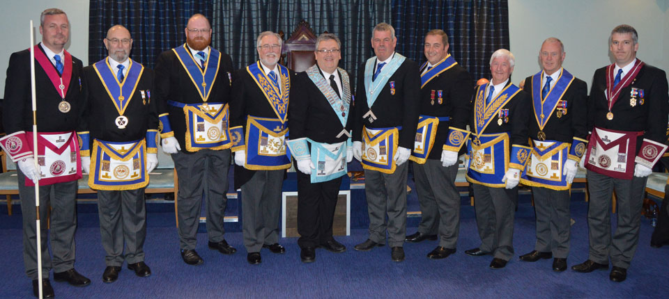 Philip Gardner, Andrew Jones and John Eccles pictured with Grand and Acting Provincial Grand officers.