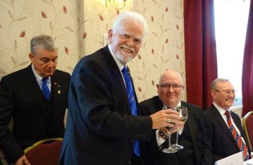 Pictured are David Randerson (second left) takes wine with Joe O'Brien.