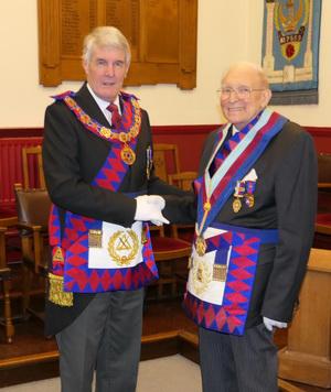 Paul Renton (left) congratulating Tony Tallon.