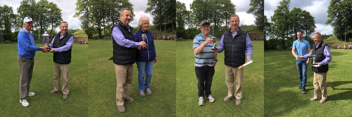 The winning bowlers receive their trophy, from left to right, are: Peter Schofield (left) and Peter Lockett. Kath Schofield (right) and Peter Lockett. Jayson Jackson (left) and Peter Lockett. Jason Halstead (left) and Peter Lockett.