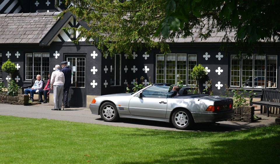 Adrian Dean's Mercedes-Benz 300SL-24 in front of Samlesbury Hall