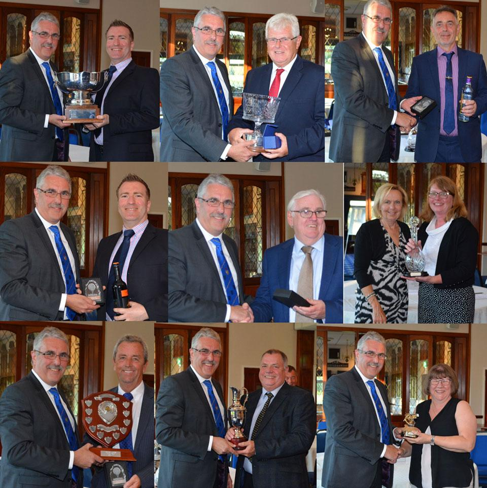 Pictured on the right in each picture are the winners receiving their prizes. top row from left to right., are: Ian White, Alex Roberts and Ian Stanley. Middle row: Ian White, David Finlay and Sue Mazurkiewicz. Bottom row: Ian Holden, Chris Eyres and Sue Burke.