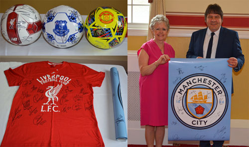 Pictures left: The prizes. Pictured right: Susan Poynton presenting Glen Screeton with his prize.