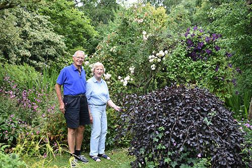 Chris and Shirley Band in their garden.