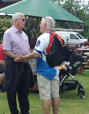 Geoffrey Porter (left) shares his wisdom with Chris Reeman