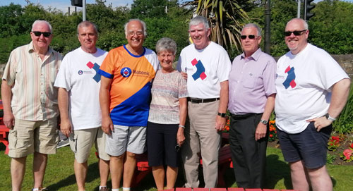 Pictured from left to right, are: John Parrott, John Selley, David Ogden, Maureen and Tony Harrison, Geoffrey Porter and Ian Green