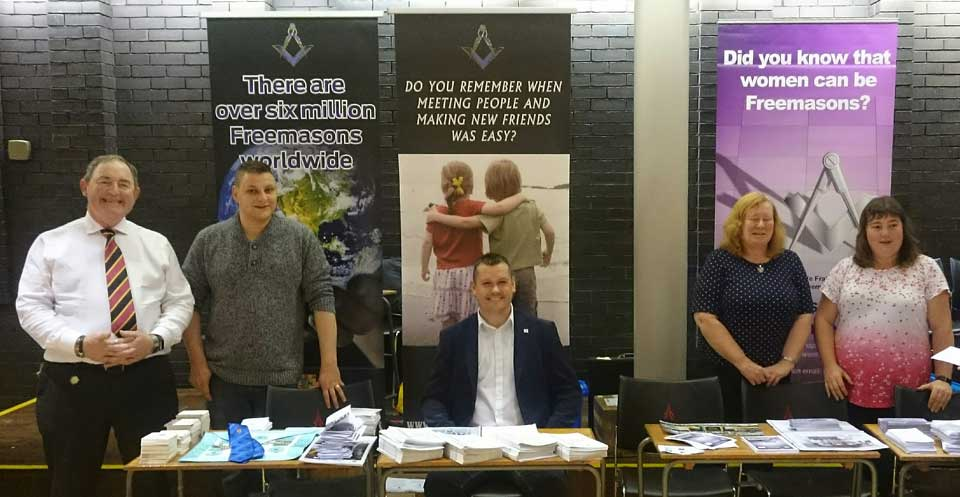 Masons are pictured on the Freemasons information stand at Lancaster University Fresher's week.
