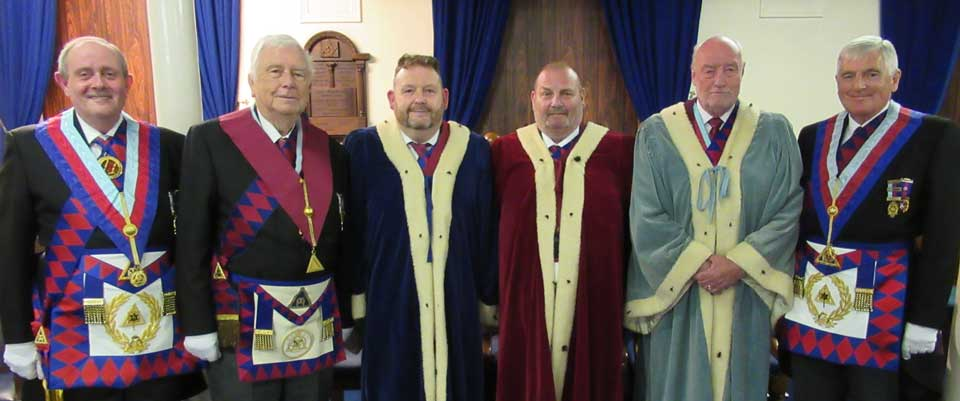 Pictured from left to right, are: Tony Hall, Jon Measures, David Topping, Neal Atkinson, Derek Alty and Chris Blackwell at the celebration of Jon's 50 years in Royal Arch Masonry.
