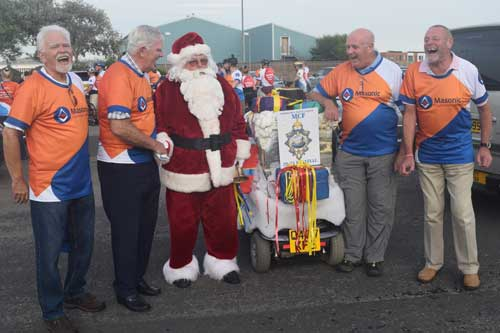 Why are they laughing? Was it because Santa asked the Provincial Grand Master if he was riding the lights! ?