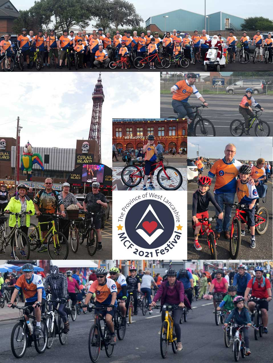The riders are pictured before the start and during their ride along seafront.