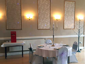 The main function room in wedding trim.