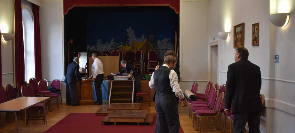 The lodge being transformed into the dining room.