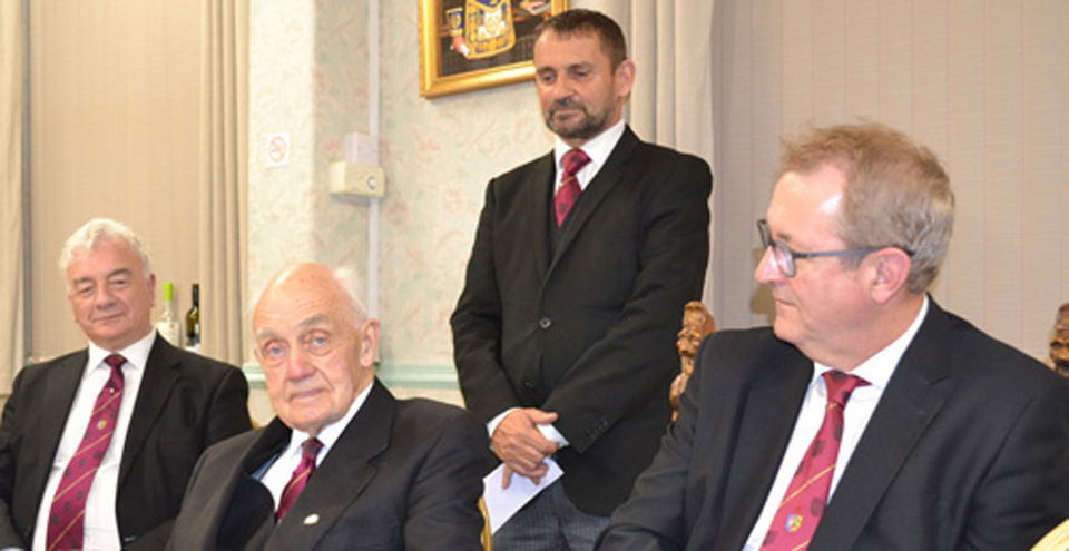 Tom Holroyd (centre) is quite rightly the focus of attention, surrounded by, from left to right: Barrie Crossley, Dave Thomas and Ken Needham.