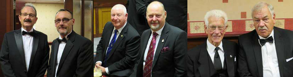 Pictured left: Paul Smedley (left) and Stuart De Core. Pictured centre: Harry Cox (left) and John Cross. Pictured right: A lodge founder Bob Abbot-Hull (left) with Terry Twigger.