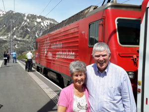 Maureen and Tony prepare to board the Bernia Express to Triano.