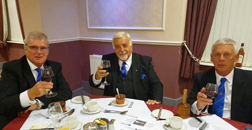 Enjoying the festive board, pictured from left to right, are: John Selley, Barry Dickinson and John Lomax.
