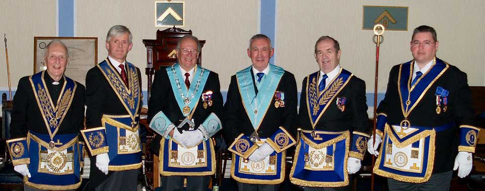 Pictured from left to right, are: Rev. Canon Geoffrey Moore, Ian Ward, Tony Ansell, Roger O'Loughlin, John Turpin and Jim Finnegan.