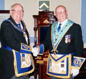Phillip Gunning (left) congratulates Peter Mann