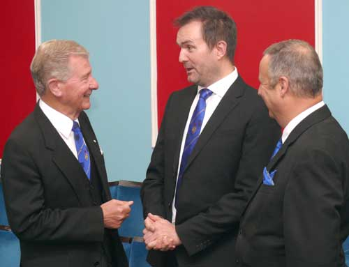 John Stuart Thornber (left) chats to fellow craft Jason Halstead watched by Peter Lockett (right).