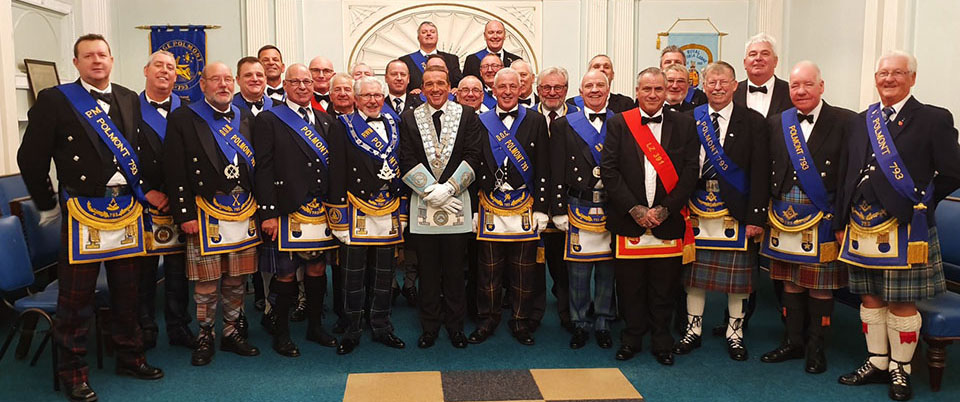 Lodge Polmont with Jim Bennie and Stephen Lee at the centre.